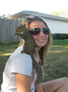 Me with a squirrel... on my shoulder.